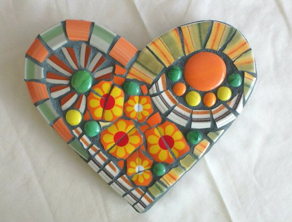 That Seventies Heart Hippie Boho Citrus by DumbLadyMosaics on Etsy