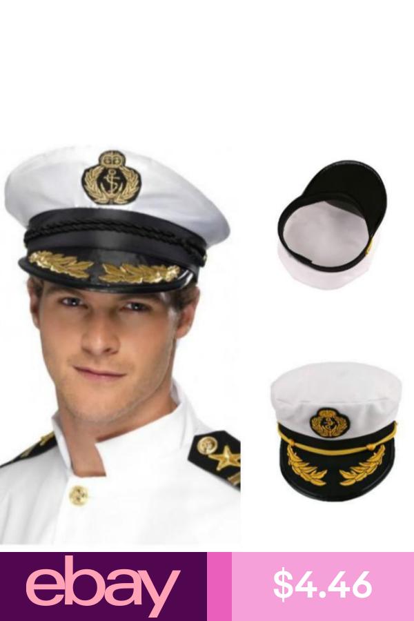 Yacht Captain Hat Sea Skipper White Navy Sailor Cap Costume Boater Hat Party