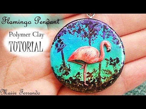 ▶ Polymer Clay Flamingo Pendant Tutorial | Maive Ferrando - YouTube
