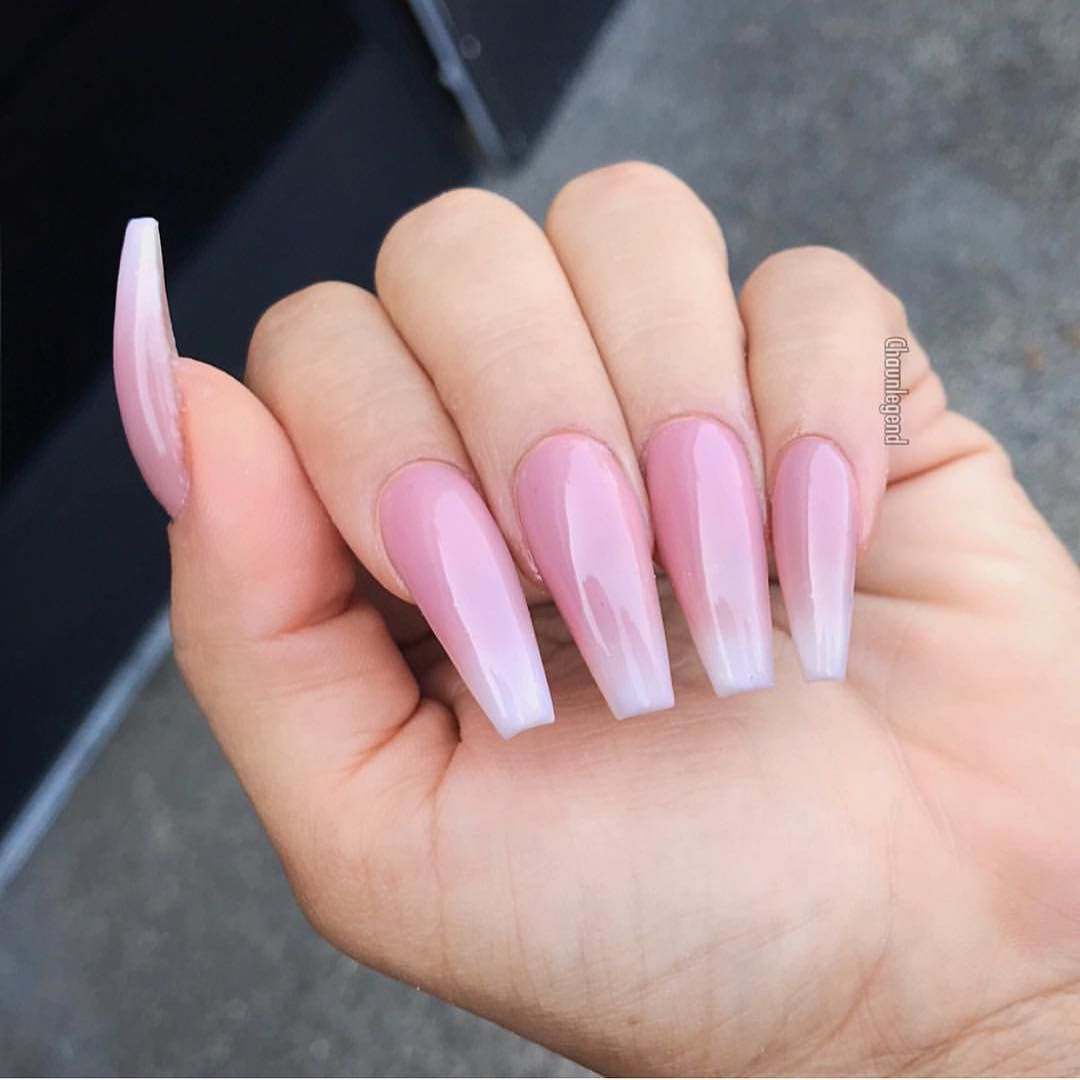 Gorgeous nail art design ideas Gorgeous pink on long coffin nails  - nail art design #nail #nailart