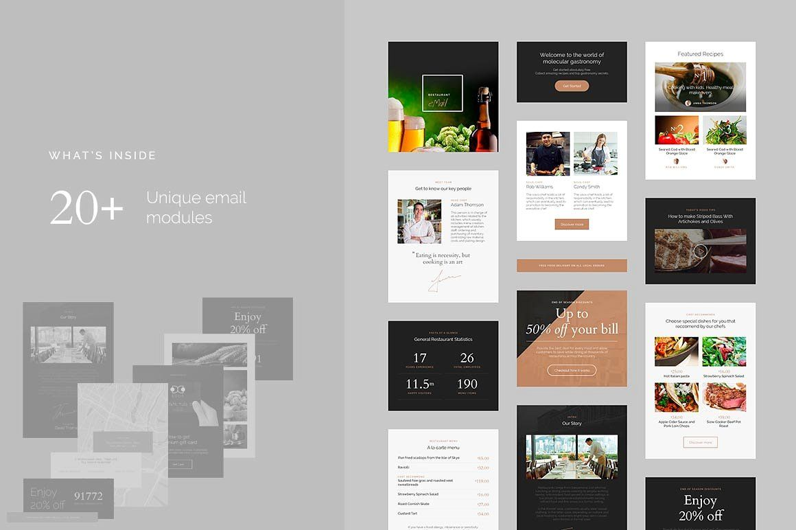 restaurant email template by idealui on creativemarket. Black Bedroom Furniture Sets. Home Design Ideas