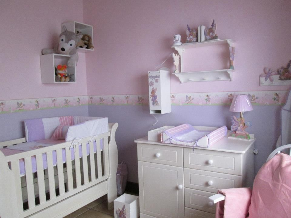 Fairy Nursery Decor Walls Painted Pink And Lilac So Enchanting Paint Line Recommended At 115cm From The Floor Wallpaper Border Code 108 Clic