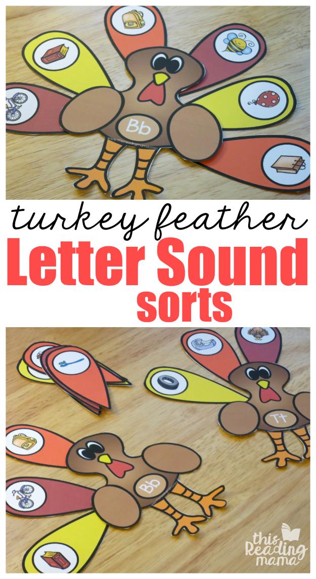 Turkey Beginning Letter Sound Sorts Thanksgiving