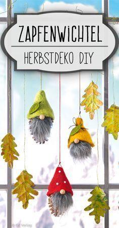 Tannenzapfen-Deko: Zapfen-Wichtel für Fenster #parenting