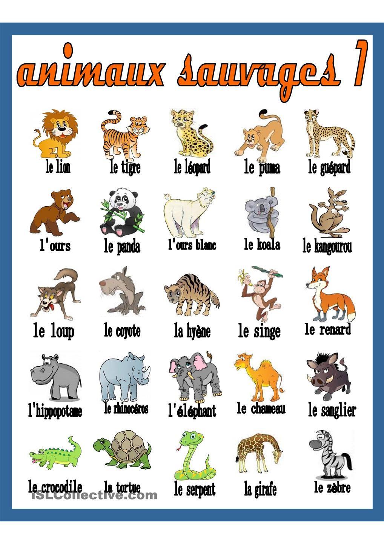 Image result for les animaux en francais