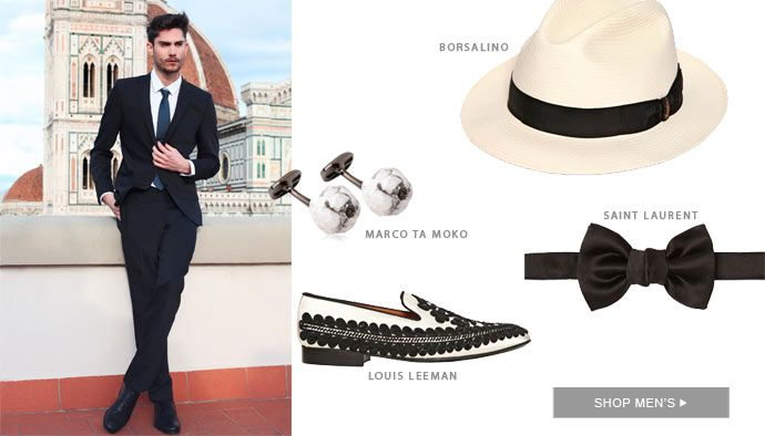 A FORMAL INVITATION Spice up your next formal occasion with sophisticated silhouettes in spring's star colours and prints. Add statement cufflinks for him and geometric heels for her to craft show-stealing styles that will put your name at the top of the guest list.