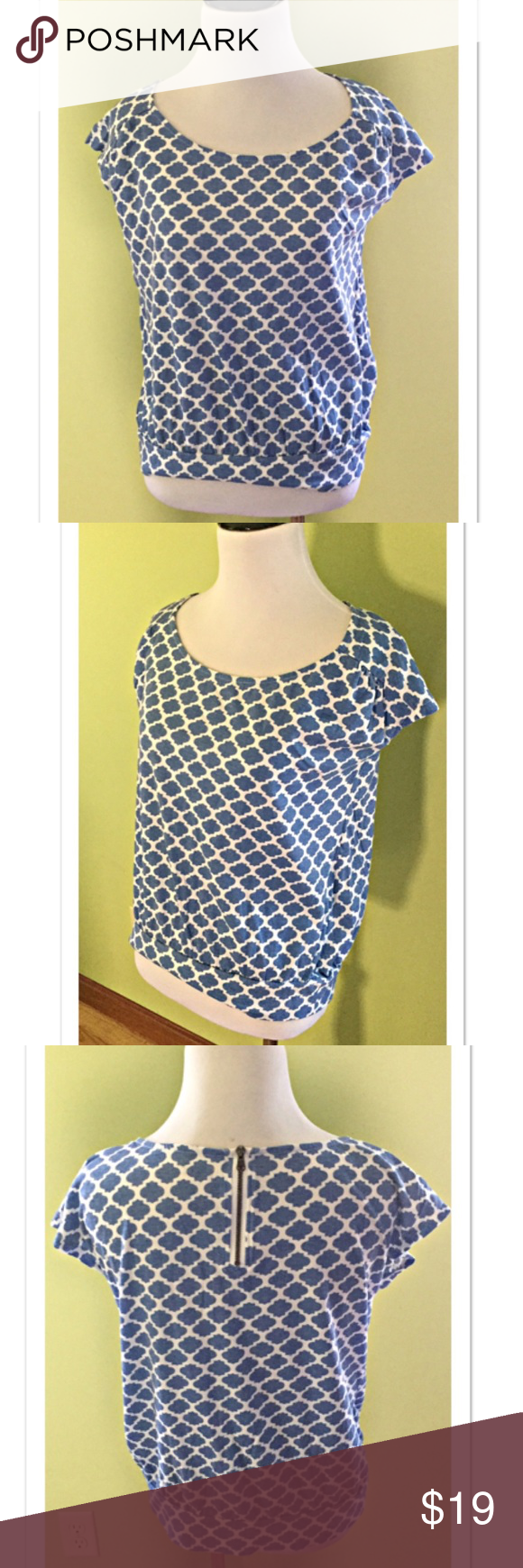 LOFT Blue Print Cap Sleeve Top W Exposed Zipper S Super Cute Top From Ann  Taylor