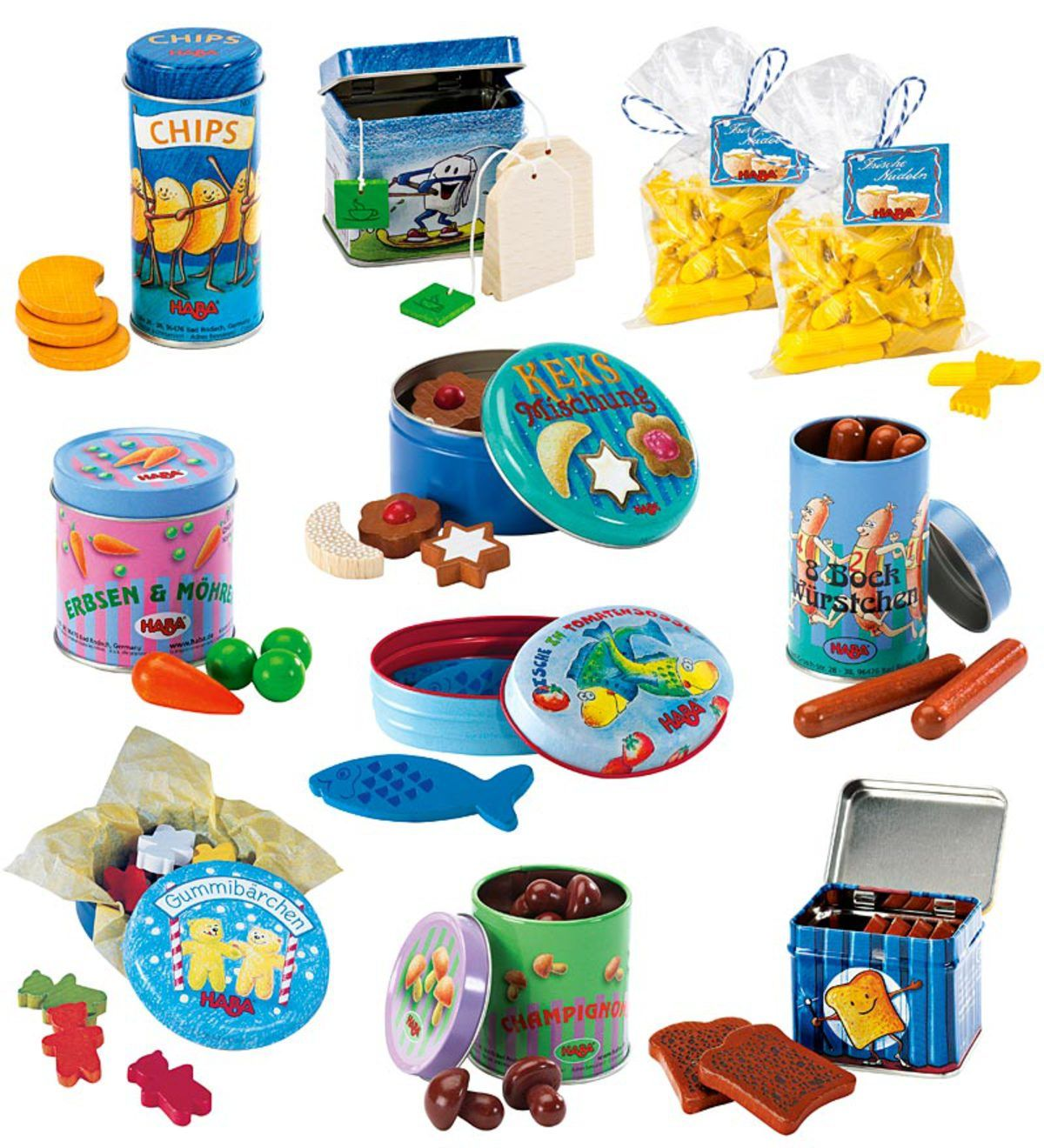 A pantry full of whimsical wooden play foods packaged in