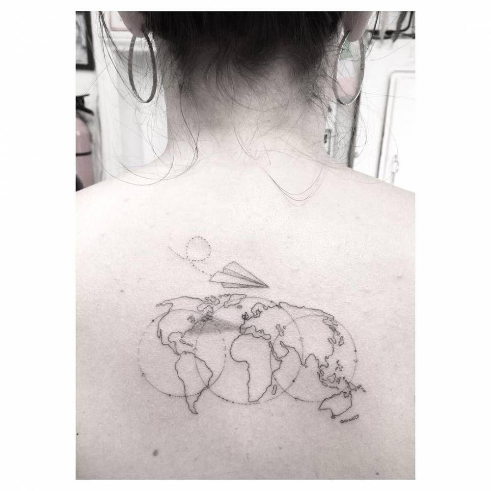 Girl tattoo designs upper back single needle world map tattoo on the upper back  tattoos