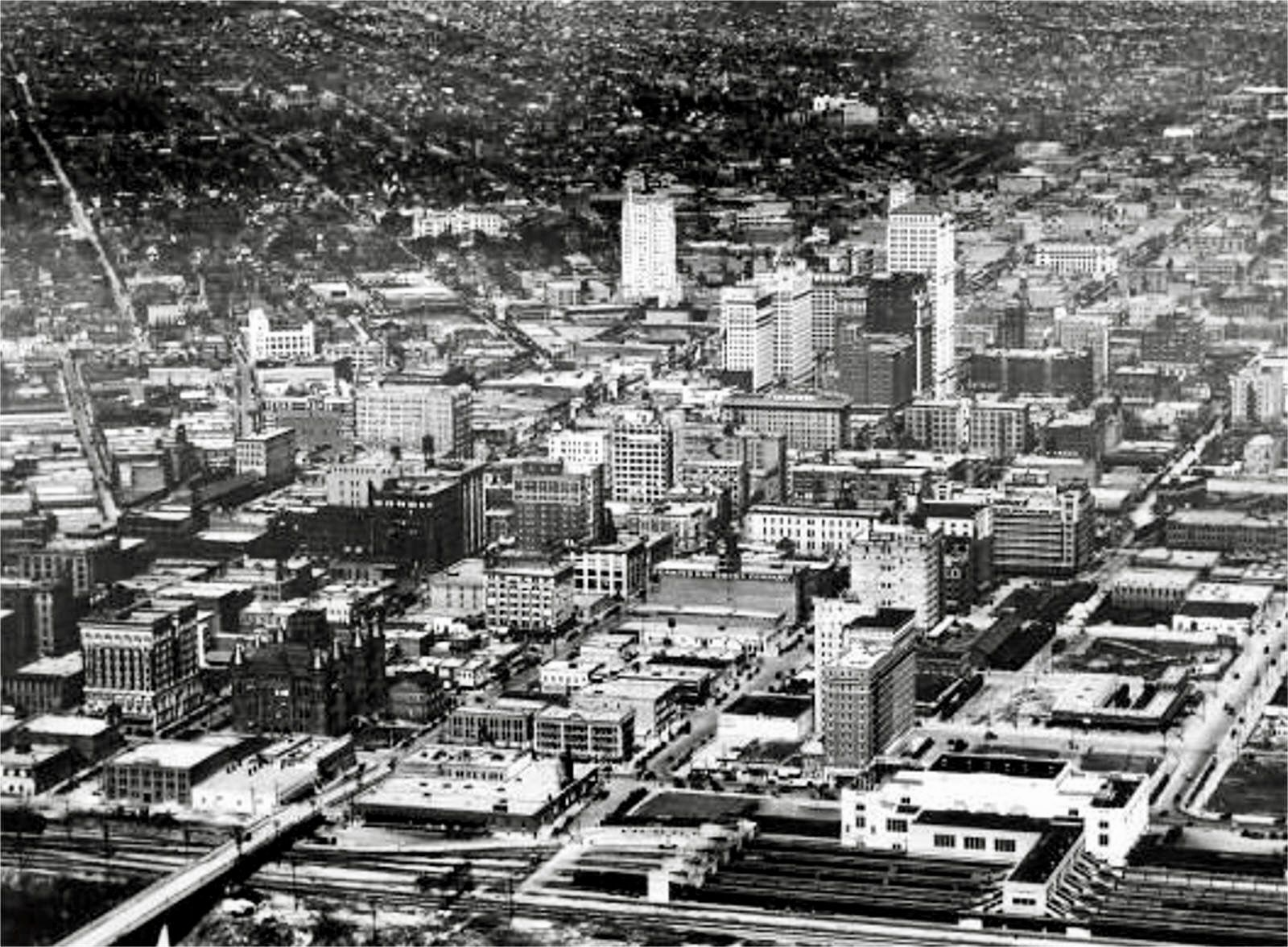 Aerial view of downtown dallas texas 1929 notice the