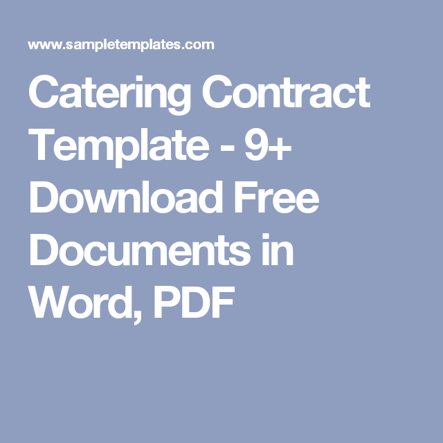 Catering Contract Template   Download Free Documents In Word