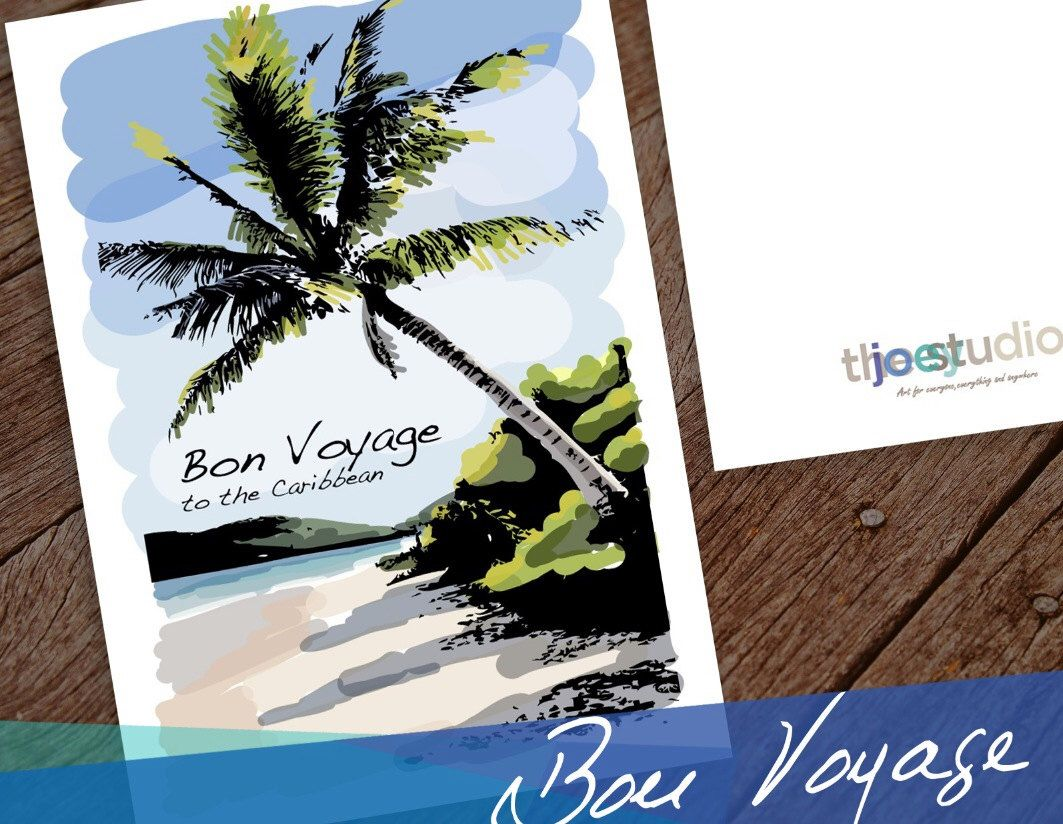 Caribbean travel greeting card greeting card bon voyage to the caribbean travel greeting card greeting card bon voyage to the caribbean balnk card travel gift honeymoon card cruise card 5x7 card kristyandbryce Images