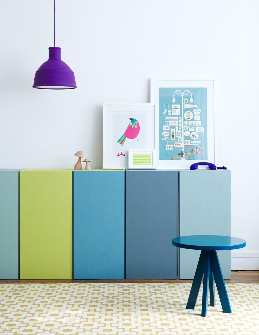 IKEA Hacks IVAR Schranktüren in Blau und Grün