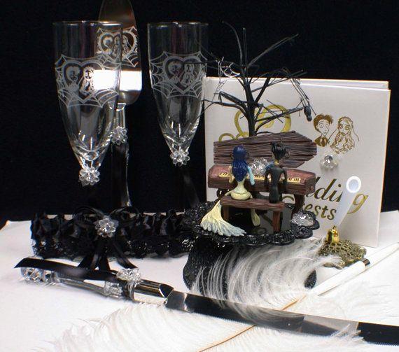 Corpse Bride Wedding Cake topper LOT Glasses par YourCakeTopper ...