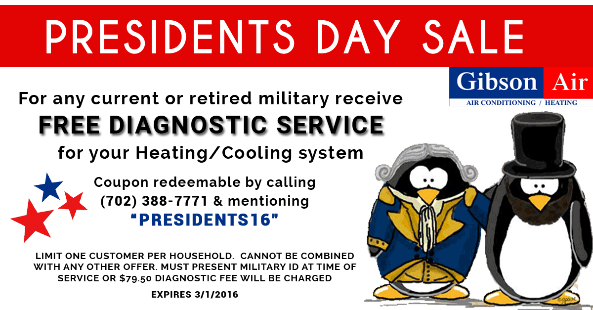 Presidents Day Coupon For Free Diagnostic Service For Your Heating