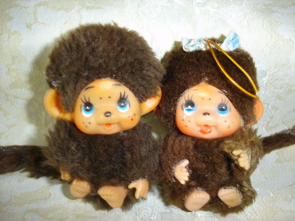 2 Stück Monchichi Monchhichi Affen Junge Mädchen Paar Minis