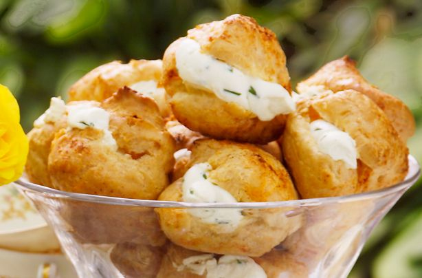Cheese and chive puffs   Recipe   Afternoon tea recipes, Canapes recipes,  Food