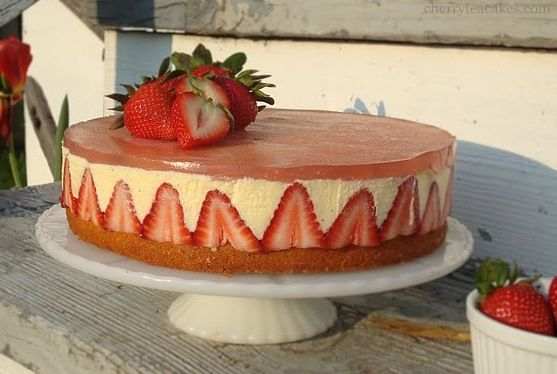Fraisier~T~ This one is made with a moist lemon pound cake, a buttery pastry cream and of course strawberries.