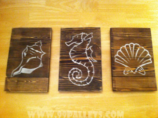 20 DIY Pallet Art Flag Ideas | Beach wall art, Pallet art and Wall ...