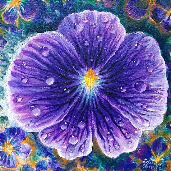 Violet flower painting