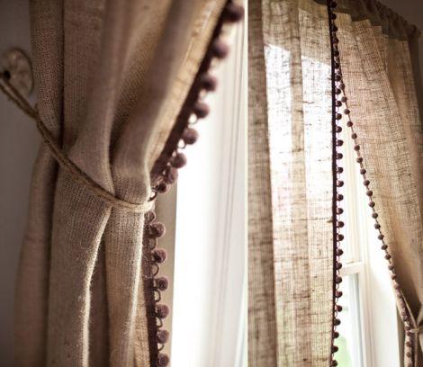 Knitting For Your Home Pom Pom Curtains And Curtain Trims Burlap Curtains Diy Pom Pom Curtains Curtain Trim