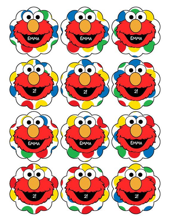 ELMO Sticker or Cupcake Topper Printable Sesame Street Party