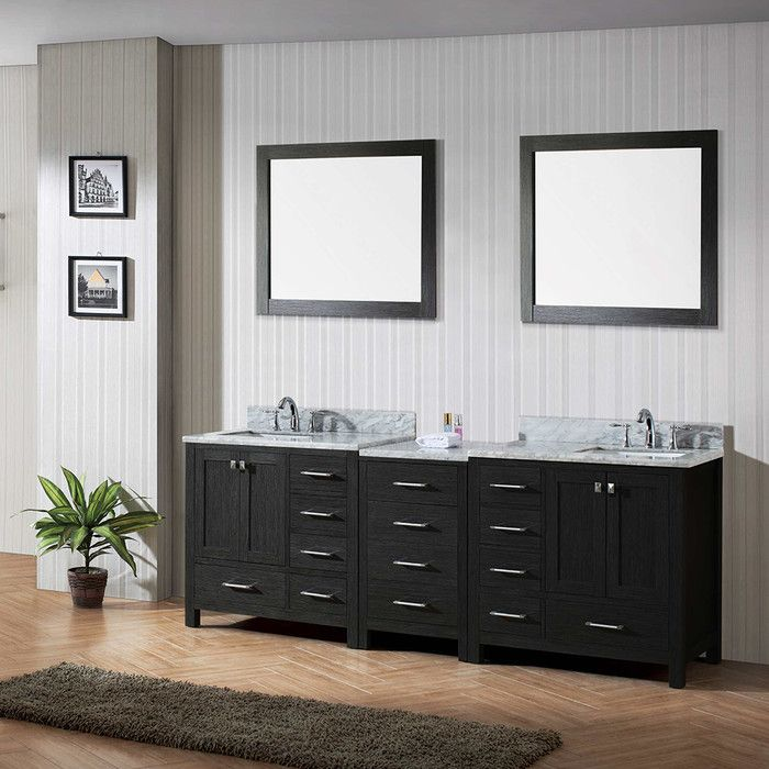 "Virtu Caroline 90"" Double Bathroom Vanity Cabinet Set With Mirror Extraordinary Bathroom Cabinet Reviews Design Ideas"