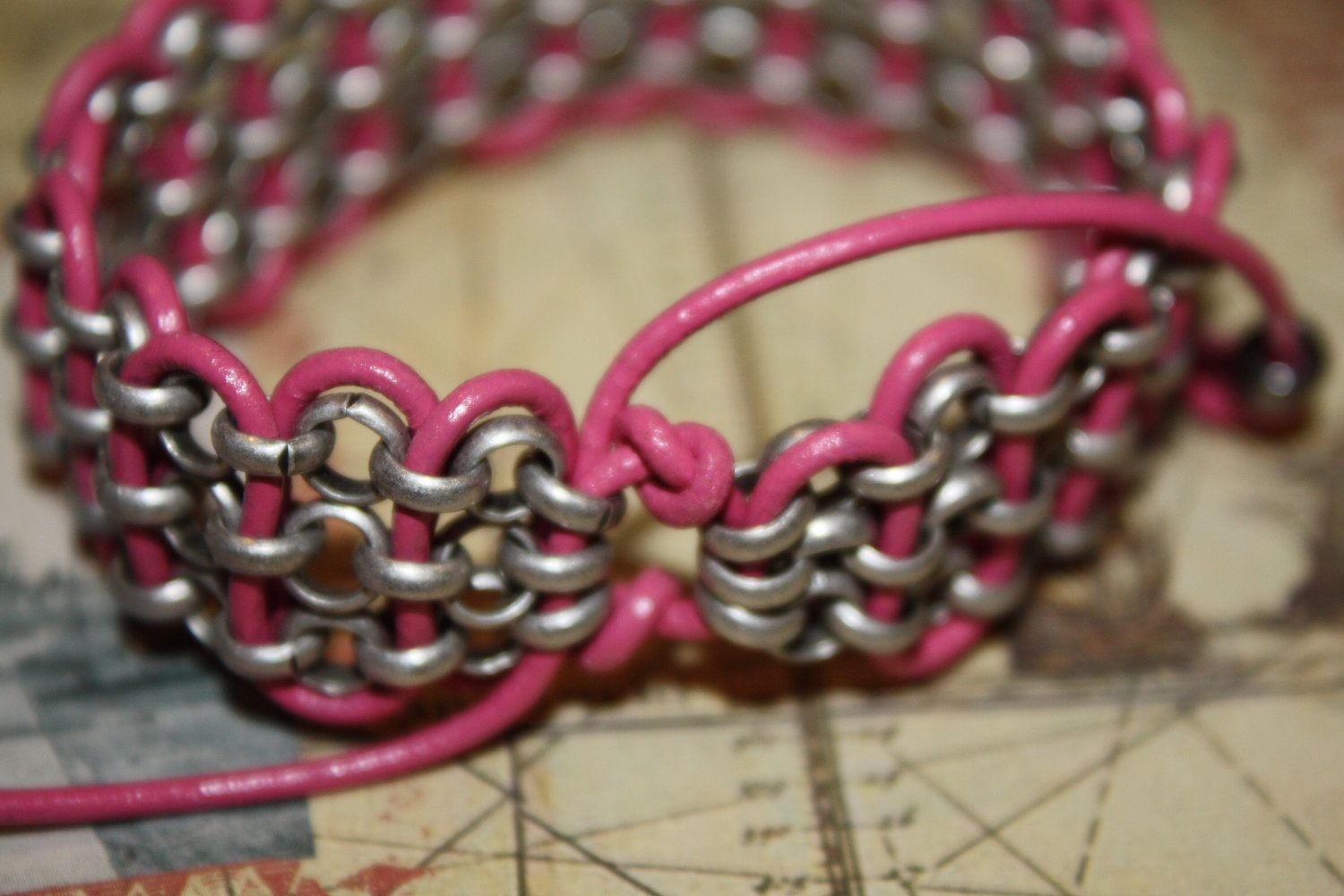 Silver Chain and Hot Pink Leather Wave Bracelet Free Shipping. $22.00, via Etsy.