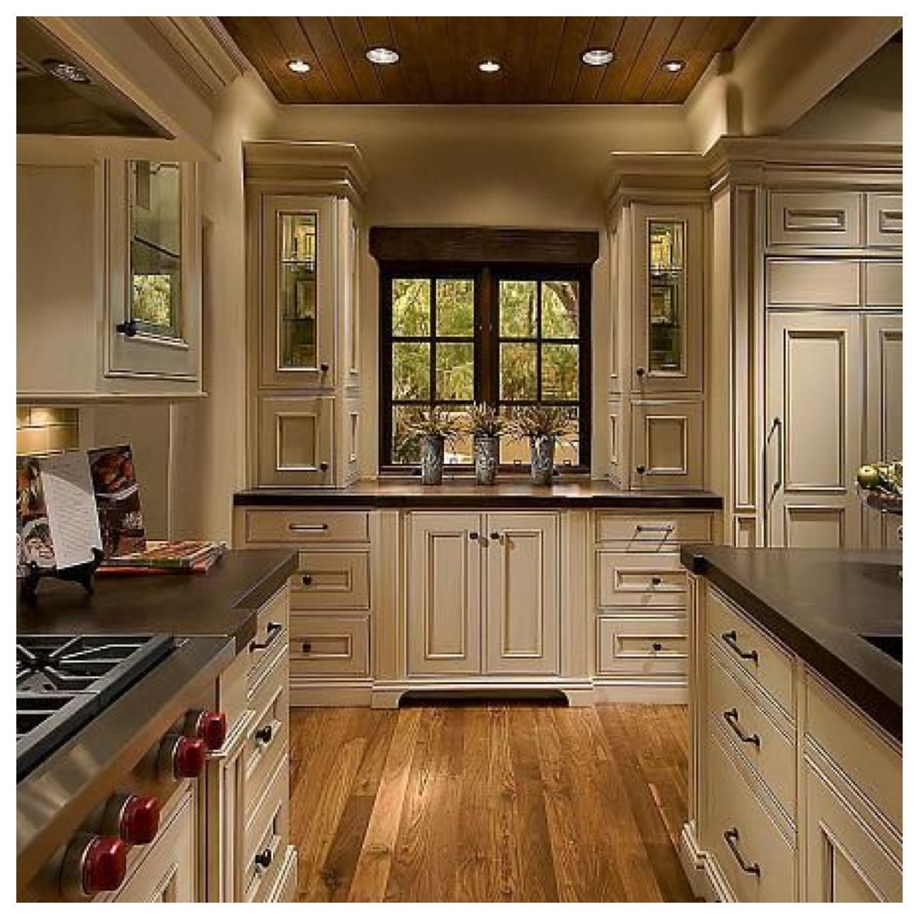 Cabinets Will Be Solid Cherry Wood White Flat Paneled With Glass Inserts In The Side Upper Cabinets White Kitchen Rustic Antique White Kitchen Rustic Kitchen