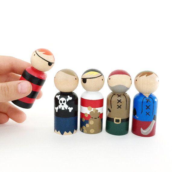 "2 3/8"" Pirate Peg Dolls With Felt Roll Up Sleeping Bag"