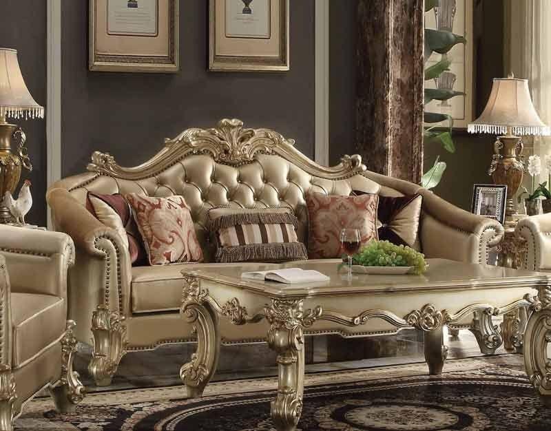 Acme Furniture Vendome Ii Sofa With 5 Pillows Bone Pu Gold