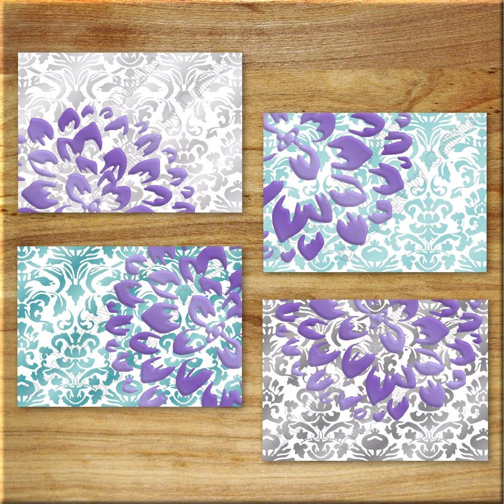 Purple teal wall art prints decor elegant damask floral flower aqua