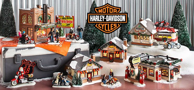 HD Xmas village | Harley davidson, Christmas village display