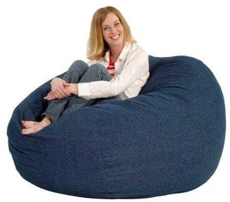 Comfort Research Fuf Large Foam Bean Bag Chair, Denim Comfortable Large Fuf  Bean Bag Chair