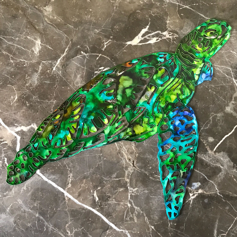 Metal sea turtle ink colored x in cuj metal mania etsy