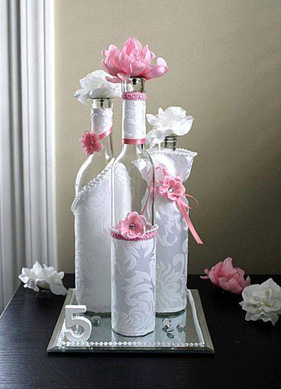 SET3 Decorated Wine Bottle Centerpiece Blush Light Pink White