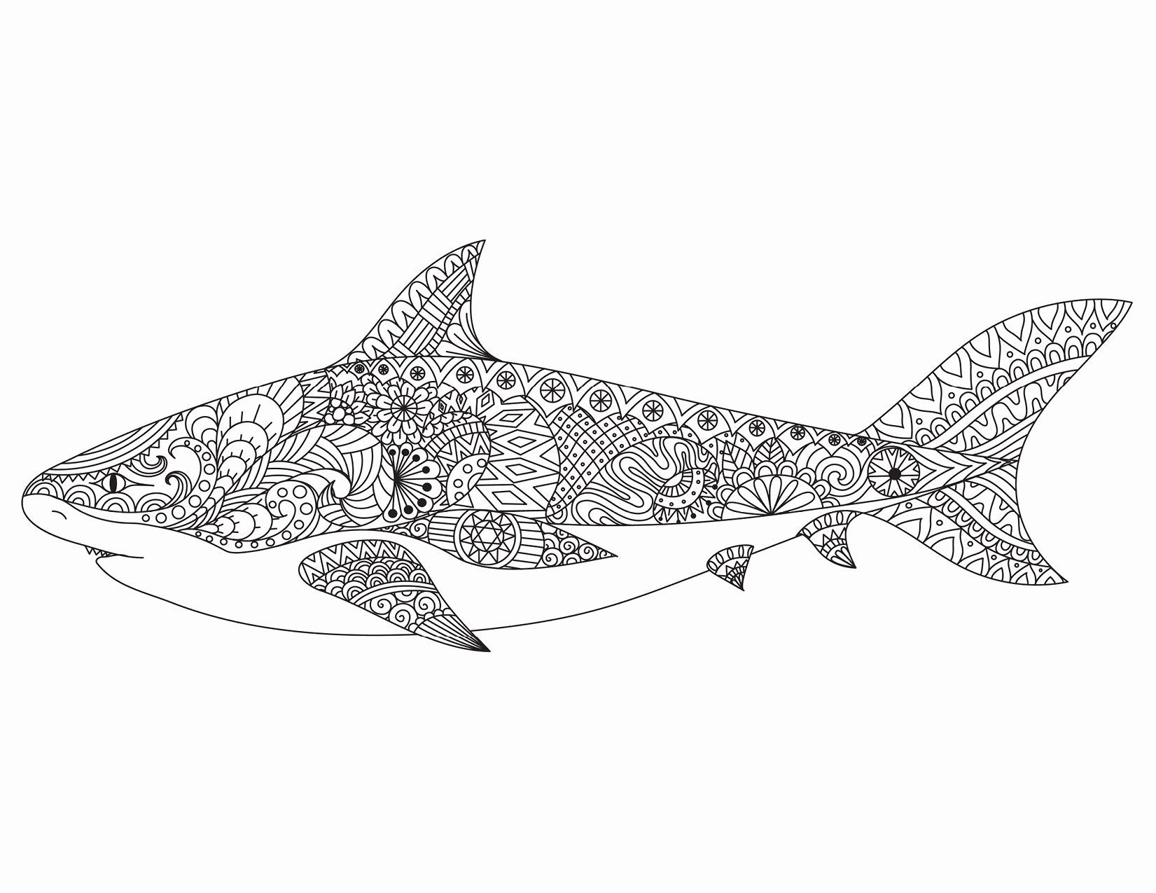 Shark Coloring Pages For Adults Awesome Coloriage In 2020 Shark Coloring Pages Designs Coloring Books Coloring Books