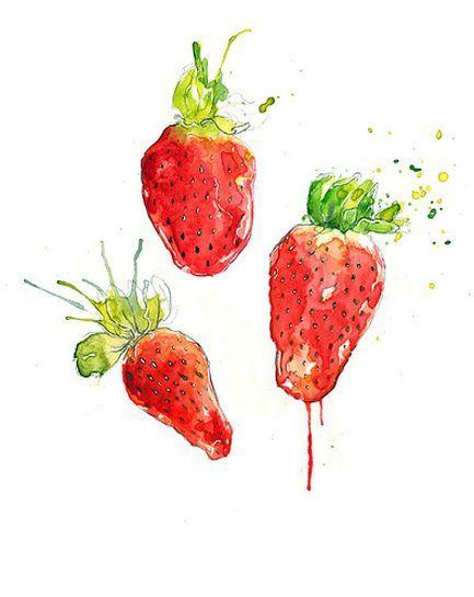 Tumblr Watercolor Fruit Strawberry Art Strawberry Watercolor