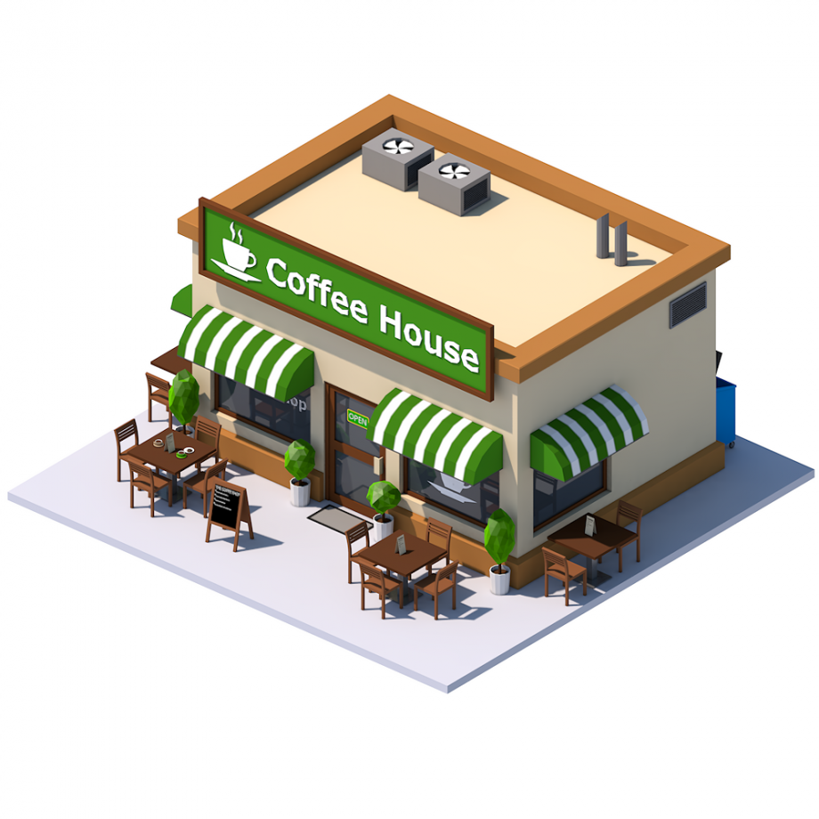 1935 Low Poly Coffee Shop Png 920 920 Low Poly Coffee House Isometric Design