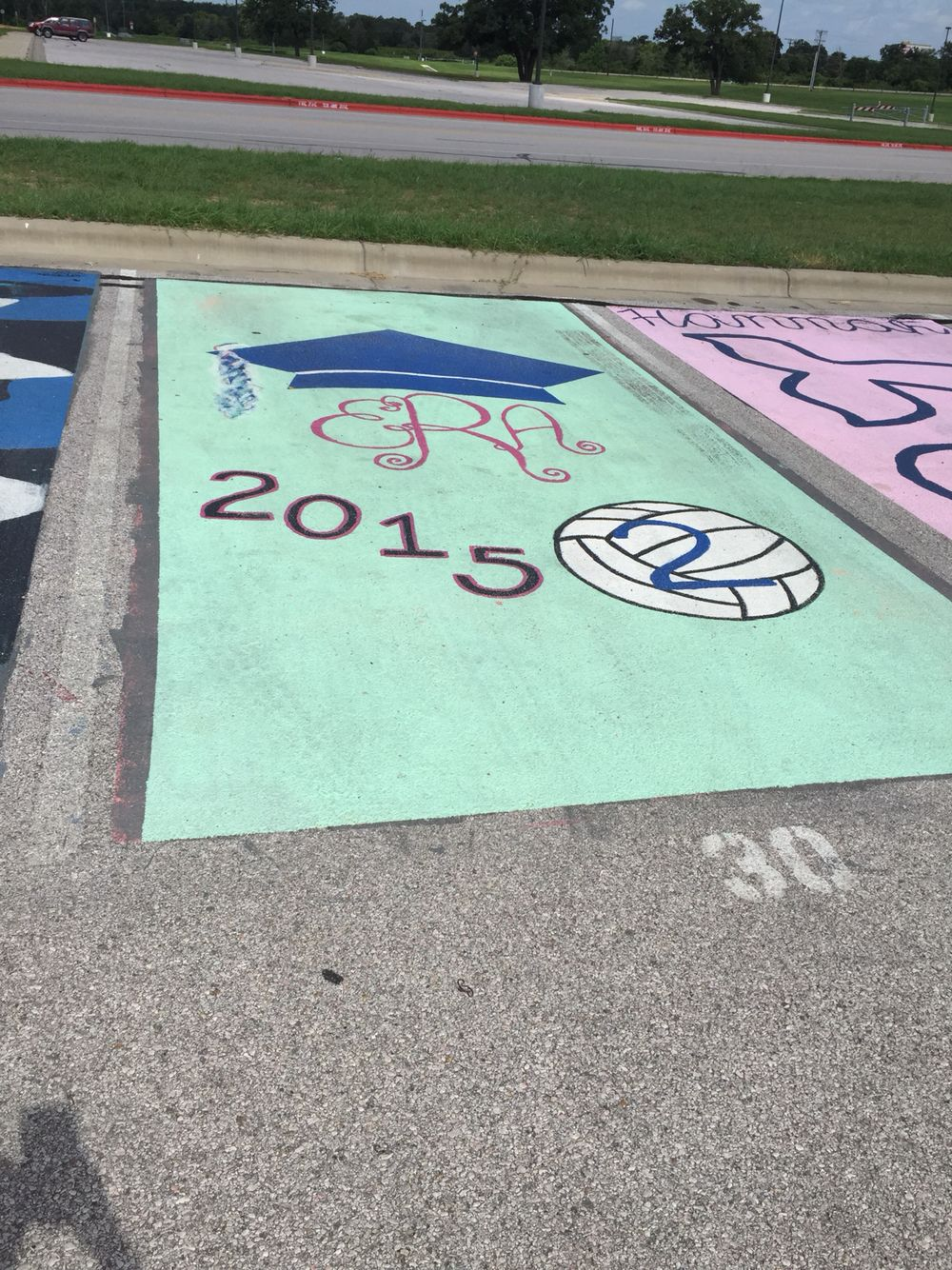 Paint Your Parking Spot Can The Volleyball No A Dance Shoes Parking Spot Painting Parking Lot Painting Senior Year Diy