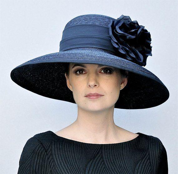 Kentucky Derby Hat, Ladies Navy Hat, Women's Navy Hat