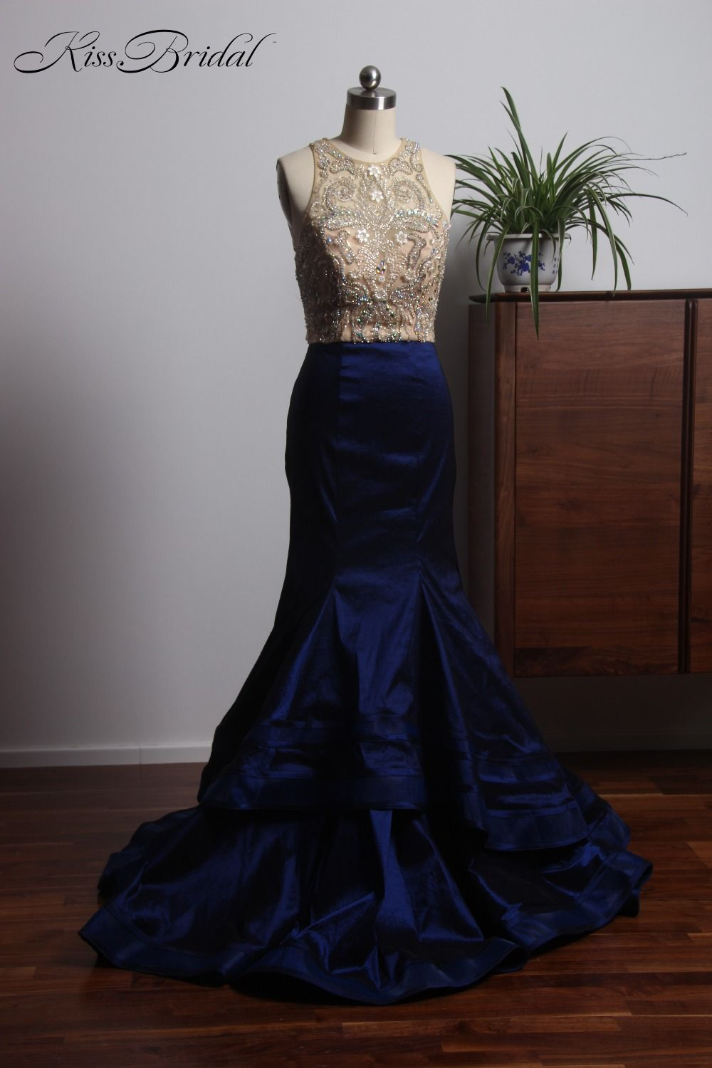 Click to buy ucuc fashion new navy blue evening dresses long full