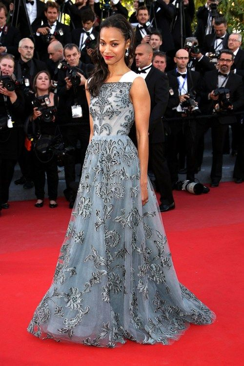 Zoe Saldana 2013 Cannes Film Festival wearing Valentino.