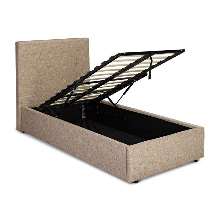 The Lucca Ottoman Bed Is A Beige Bed Upholstered In A Linen Type Fabric With A Hydraulic Lift For Underne Ottoman Bed Ottoman Storage Bed Upholstered Bed Frame