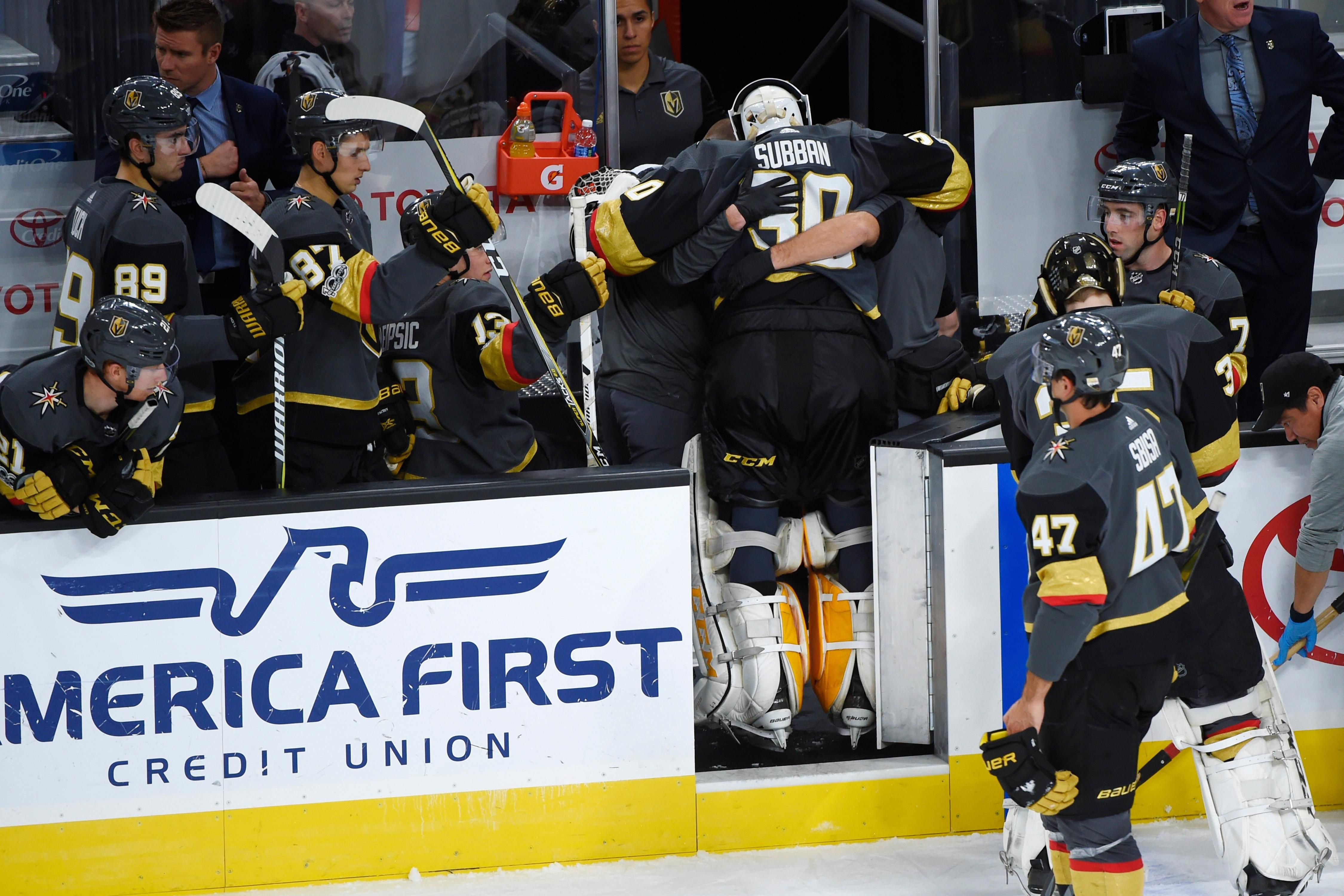 Vegas Golden Knights Goalie Malcolm Subban 30 Is Helped Off The