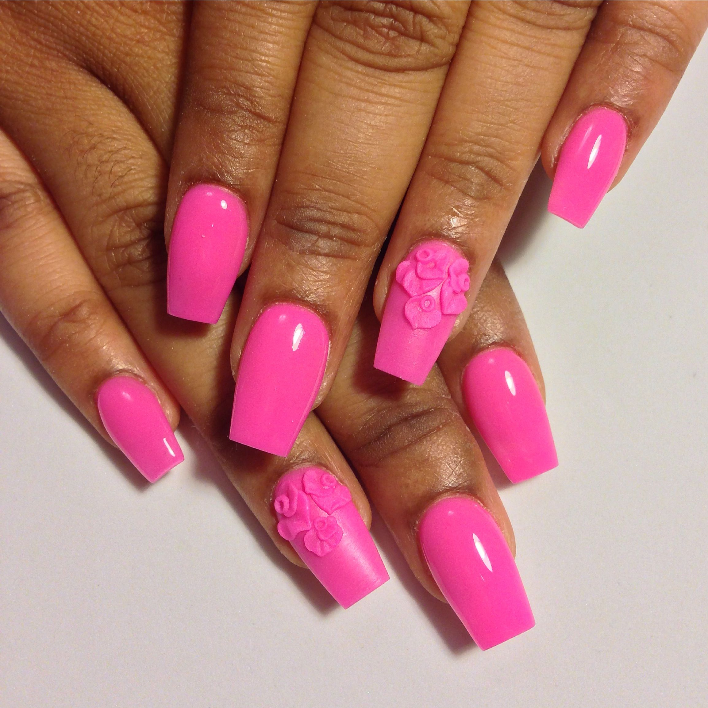 Hot Pink Coffin Shaped Nails With 3d Flowers All Acrylic No Polish Like The Shape Not Necessarily The Color Coffin Shape Nails Nails Nails Inspiration