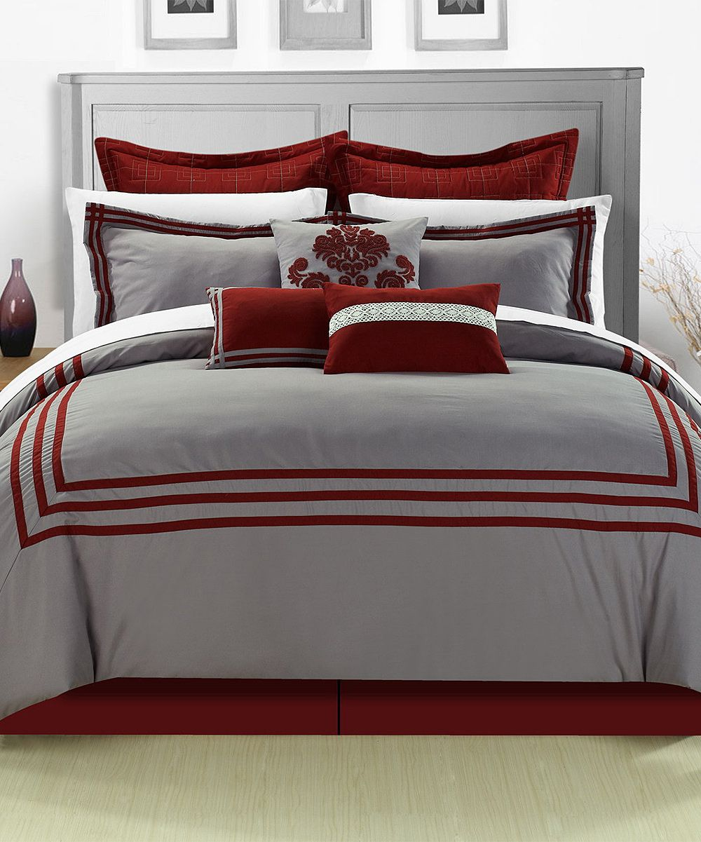 Black and red bedroom set - Red Cosmo Comforter Set Zulily