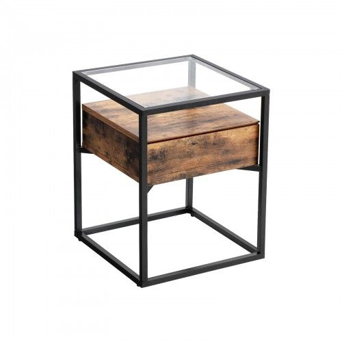 Tempered Glass End Table End Table In 2020 Industrial Side Table End Tables With Drawers Glass End Tables