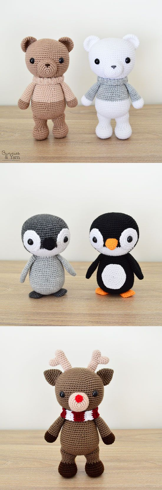 THREE CROCHET PATTERNS in English - Xander the Bear, Yves the Penguin and Zach the Reindeer - Amigurumi Toy Animal - Instant Pdf Download #amigurumi