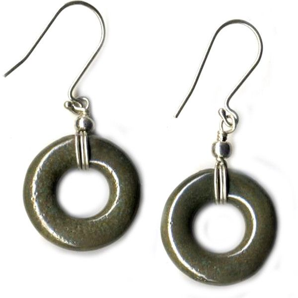 Porcelain Earrings- Hoop Olive ($25) ❤ liked on Polyvore featuring jewelry, earrings, hoop earrings, olive jewelry, handcrafted jewelry, beaded hoop earrings and beading jewelry